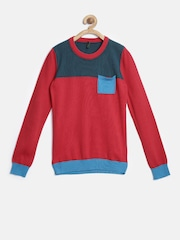 United Colors of Benetton Boys Red Colourblocked Sweater
