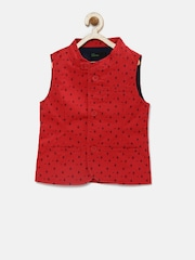 United Colors of Benetton Boys Red Printed Waistcoat