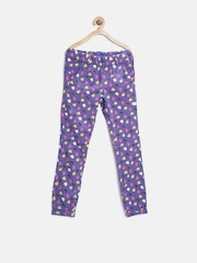 United Colors of Benetton Girls Purple Printed Trousers