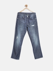 United Colors of Benetton Boys Navy Regular Fit Mid Rise Mildly Distressed Jeans
