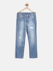 United Colors of Benetton Boys Blue Regular Fit Mid Rise Mildly Distressed Jeans