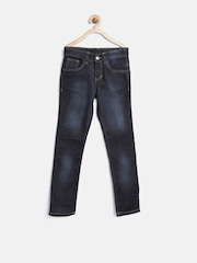 United Colors of Benetton Boys Navy Skinny Fit Mid Rise Clean Look Jeans