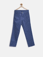 United Colors of Benetton Boys Blue Printed Regular Fit Chinos