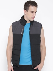 Reebok Black & Charcoal Grey Bomber Colourblocked Puffer Jacket