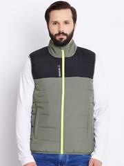 Reebok Olive Green & Black Colourblocked Sleeveless Bomber Jacket