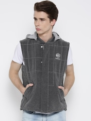 Reebok Classic Grey Padded Sleeveless Jacket with Detachable Hood