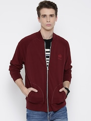 Reebok Classic Maroon CC FT TENS Embroidered Bomber Jacket