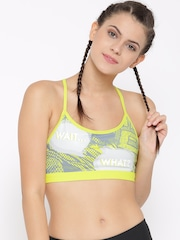 Reebok Green Y POP ART AP Printed Studio Sports Bra AY0988