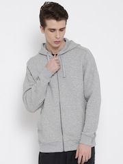 Reebok Grey Melange EL Quilted FZ Hooded Slim Training Sweatshirt