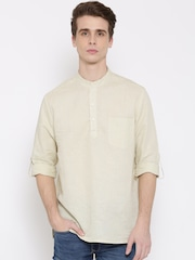 indus route by Pantaloons Men Cream-Coloured Solid Straight Kurta