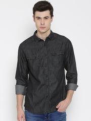 SF JEANS by Pantaloons Men Black Solid Chambray Shirt