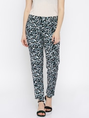 Van Heusen Woman Women Sea Green Printed Flat-Front Trousers