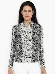 Van Heusen Woman Women Black Regular Fit Printed Casual Shirt