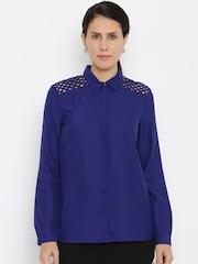 Van Heusen Woman Women Blue Checked Casual Shirt