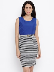 Van Heusen Woman Women Blue Striped Sheath Dress