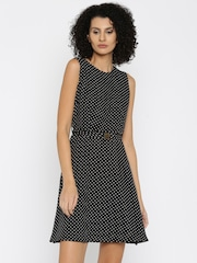 Van Heusen Woman Black & White Polka Dot Print Fit & Flare Dress