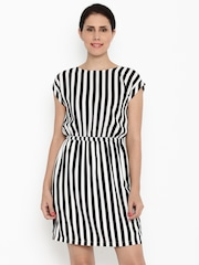 Van Heusen Woman Women Black Striped Blouson Dress