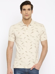 John Players Men Beige Printed Polo T-shirt