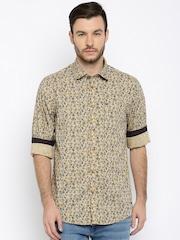 Arrow Blue Jean Co. Men Beige Slim Fit Floral Print Casual Shirt