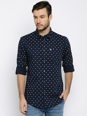 Arrow Blue Jean Co. Men Navy Slim Fit Printed Casual Shirt