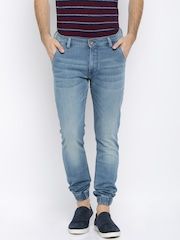 Arrow Blue Jean Co. Men Blue Washed Jogger Fit Mid-Rise Clean Look Jeans