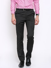 Arrow Men Charcoal Grey Solid Tapered Fit Flat-Front Trousers