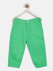 Baby League Boys Green Solid Chinos