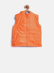 Baby League Boys Orange & Blue Hooded Reversible Sleeveless Jacket
