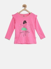 Baby League Girls Pink Printed Top