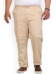John Pride Men Beige Solid Slim Fit Flat-Front Trousers