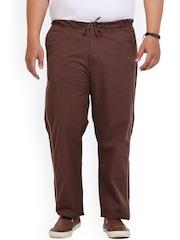 John Pride Men Brown Solid Slim Fit Flat-Front Trousers