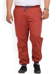 John Pride Men Red Solid Slim Fit Jogger Trousers