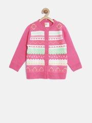 Baby League Girls Pink Fair Isle Cardigan
