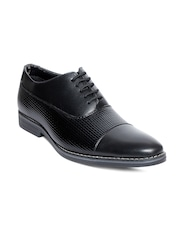 bacca bucci Men Black Textured Oxfords