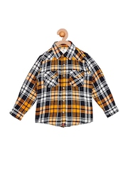 Cherry Crumble Boys Orange Smart Fit Checked Casual Shirt