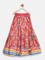 Biba Girls Coral Red Floral Print Flared Maxi Skirt