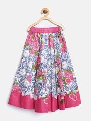 Biba Girls Pink & Blue Floral Print Flared Maxi Skirt