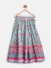 Biba Girls Mint Green Floral Print Flared Maxi Skirt
