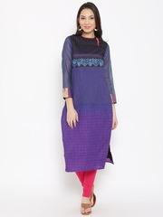 Biba Women Blue Woven Design Straight Kurta