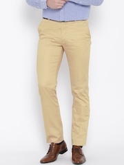 John Players Men Beige Solid Slim Fit Flat-Front Formal Trousers
