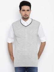 Allen Solly Men Grey Solid Sweater