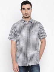 Allen Solly Men Beige & Navy Regular Fit Checked Casual Shirt