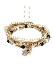 Tipsyfly Gold-Toned Set of 3 Bracelets & Earrings