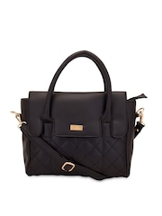yelloe Black Quilted Handbag