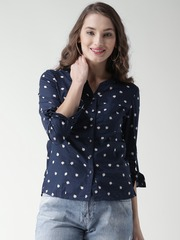 Metersbonwe Women Navy Printed Collarless Casual Shirt