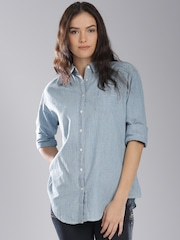 Tommy Hilfiger Women Blue Chambray Solid Casual Shirt