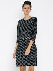 Tommy Hilfiger Women Navy Blue Striped Sheath Dress