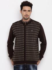 Raymond Men Brown Self-Design Sweater
