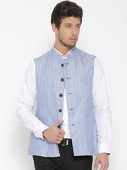 Van Heusen Blue Linen Self-Striped Slim Fit Nehru Jacket