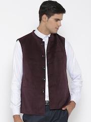 Van Heusen Wine-Coloured Slim Nehru Jacket